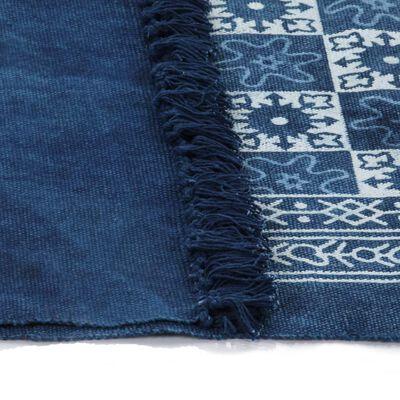 vidaXL Kelimmatta bomull 120x180 cm med mönster blå