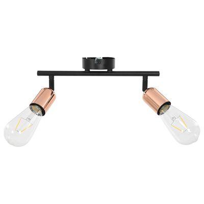 vidaXL Spotlight med 2 st lampor 2 W svart och koppar E27