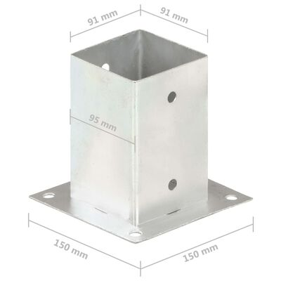 vidaXL Stolpfot 4 st galvaniserad metall 91 mm
