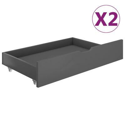 vidaXL Sänglådor 2 st mörkgrå massiv furu, Mörkgrå