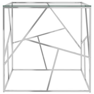 vidaXL Soffbord silver 55x55x55 cm rostfritt stål och glas