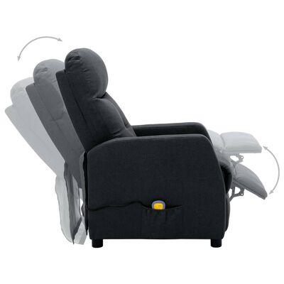 vidaXL Massagefåtölj mörkgrå tyg