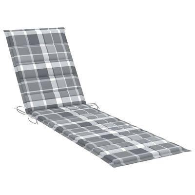 vidaXL Solsäng med dyna grått rutmönster massiv teak