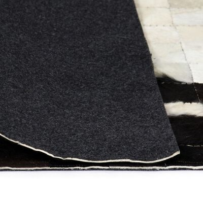 vidaXL Matta äkta läder lappad fyrkanter 160x230 cm svart/vit