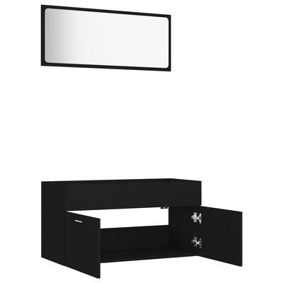 vidaXL Badrumsmöbler set 2 delar svart spånskiva