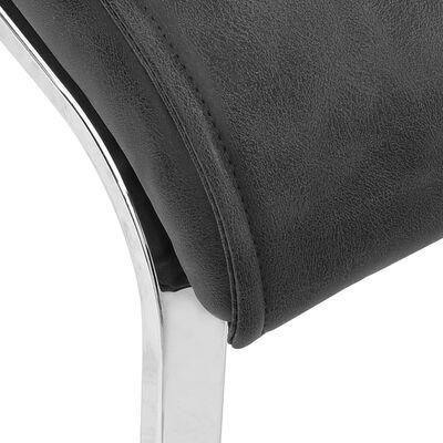 vidaXL Fribärande matstolar 2 st svart konstläder