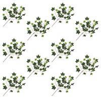 kvidaXL Konstgjorda blad murgröna 10 st grön och vit 70 cm