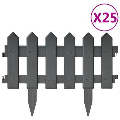 vidaXL Rabattkant 25 delar antracit 10 mm PP