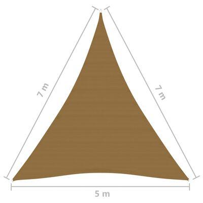 vidaXL Solsegel 160 g/m² taupe 5x7x7 m HDPE
