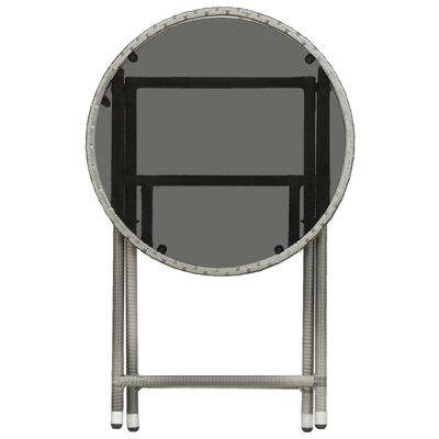 vidaXL Caféset 3 delar konstrotting och härdat glas grå