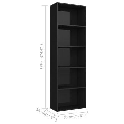 vidaXL Bokhylla 5 hyllor svart högglans 60x30x189 cm spånskiva