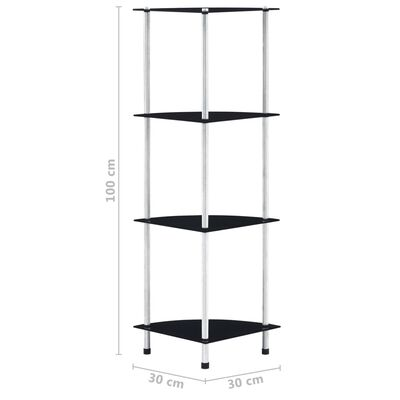 vidaXL Hylla 4 hyllplan svart 30x30x100 cm härdat glas