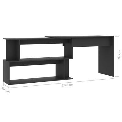 vidaXL Skrivbord hörn grå 200x50x76 cm spånskiva