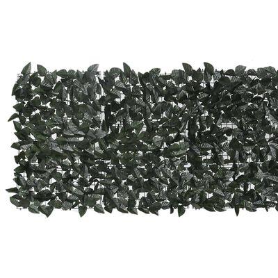 vidaXL Balkongskärm mörkgröna blad 400x75 cm