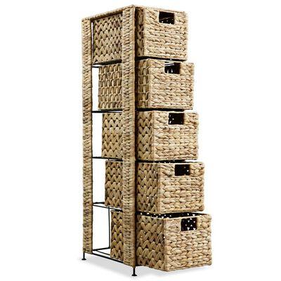 vidaXL Förvaringsmöbel med 5 korgar 25,5x37x100 cm vattenhyacint
