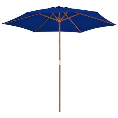 vidaXL Trädgårdsparasoll med trästång blå 270 cm