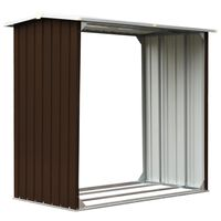 vidaXL Vedskjul galvaniserat stål 172x91x154 cm brun