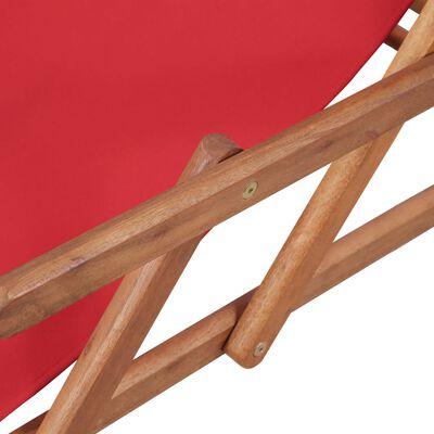 vidaXL Hopfällbar strandstol tyg och träram röd