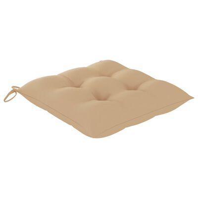 vidaXL Matstolar 6 st med beige dynor massiv teak