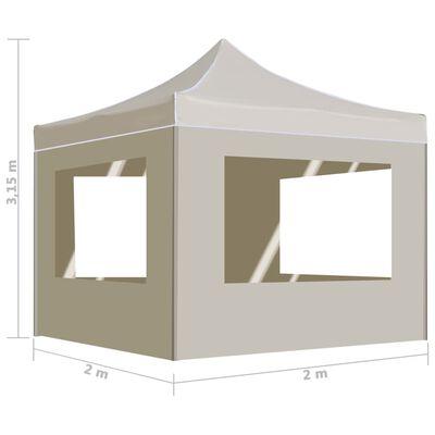 vidaXL Hopfällbart partytält med väggar aluminium 2x2 m gräddvit