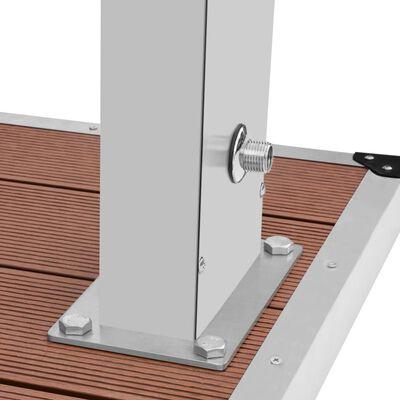 vidaXL Utedusch med golv WPC rostfritt stål