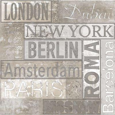 Urban Friends & Coffee Tapet stadsnamn grå och brun