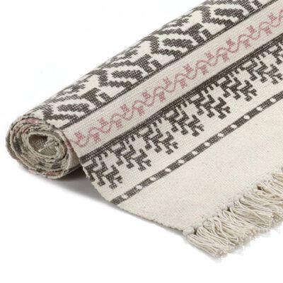 vidaXL Kelimmatta bomull 160x230 cm med mönster grå/rosa
