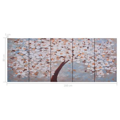 vidaXL Canvastavla blommande träd flerfärgad 200x80 cm