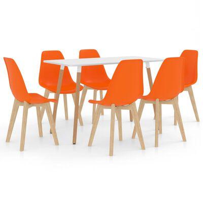 vidaXL Matgrupp 7 delar orange
