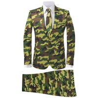 vidaXL Tvådelad kostym med slips herrar strl. 50 kamouflagetryck