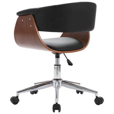 vidaXL Snurrbar kontorsstol svart böjträ och konstläder