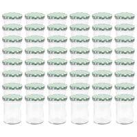 vidaXL Syltburkar i glas med vita och gröna lock 48 st 400 ml