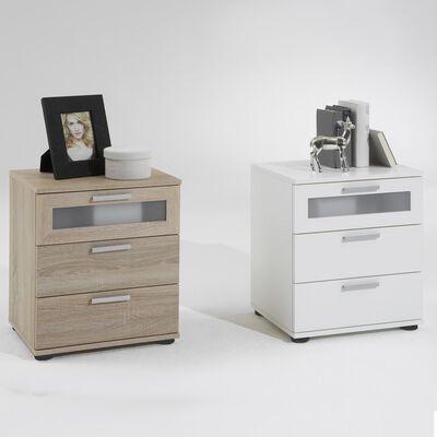 FMD Nattduksbord med 3 lådor ek
