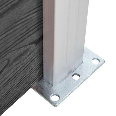 vidaXL Staketpanel WPC 95x(105-180) cm svart