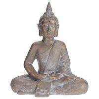 ProGarden Sittande Buddha 41 x 23,5 x 49 cm grå/guld