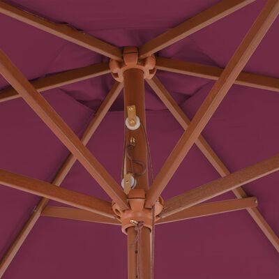 vidaXL Trädgårdsparasoll med trästång 270 cm vinröd