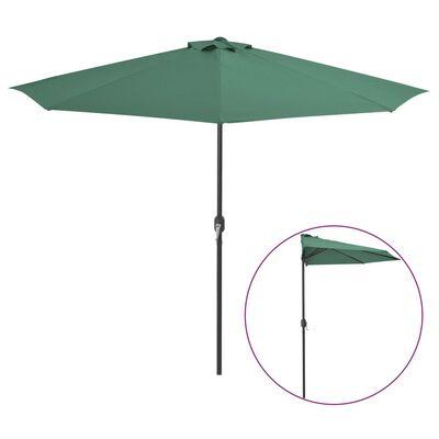 vidaXL Balkongparasoll med aluminiumstolpe grön 300x150 cm halvrunt