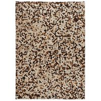 vidaXL Matta äkta läder lappad fyrkanter 120x170 cm brun/vit ,