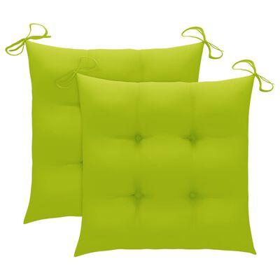 vidaXL Trädgårdsstolar 2 st med ljusgröna dynor massiv teak