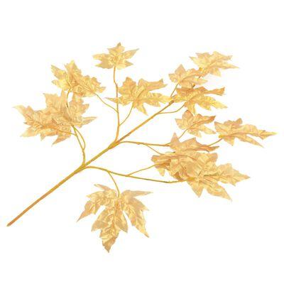 kvidaXL Konstgjorda blad lönn 10 st guld 75 cm