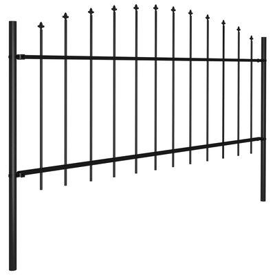 vidaXL Trädgårdsstaket med spjuttopp stål (0,5-0,75)x17 m svart