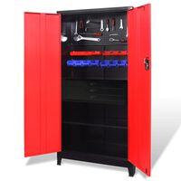 vidaXL Verktygsskåp med kista stål 90x40x180 cm röd och svart