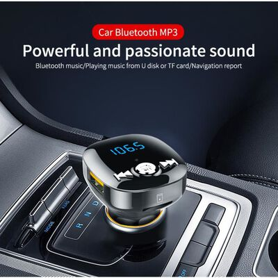 FM-sändare för bilen, bluetooth - Svart