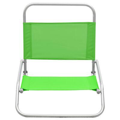 vidaXL Hopfällbara strandstolar 2 st grön tyg