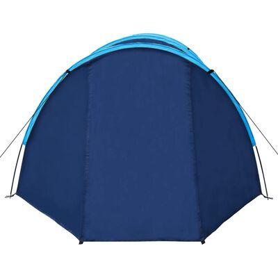 Campingtält 4-personer marinblå, gula linjer