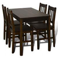 Matbord trä med 4 stolar brun
