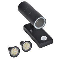 Vägglampa LED cylinderformad med sensor GU10 rostfritt stål svart
