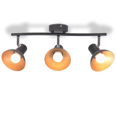 vidaXL Taklampa för 3 lampor E27 svart och guld