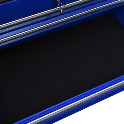 vidaXL Verktygsvagn med 14 lådor stål blå