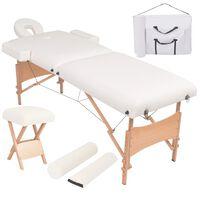 vidaXL Hopfällbar massagebänk 2 sektioner och pall set 10 cm tjock vit